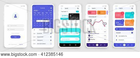 Smartphone Ui. Realistic Phone Touchscreens For Sport And Banking Application. Interface Of Planner