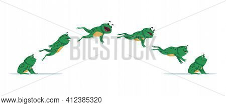 Jumping Frog. Cartoon Animation Sequence With Amphibian Movement. Side View Of Aquatic Animal Jump P