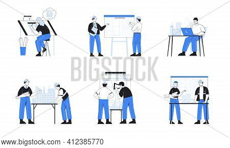 Architect Engineer. Construction Worker With Builders And Contractors Work On Building Plan. People
