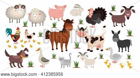 Farm Animals. Stock Raising Concept. Cartoon Sheep And Goat, Horse Or Cow. Domestic Birds With Cute