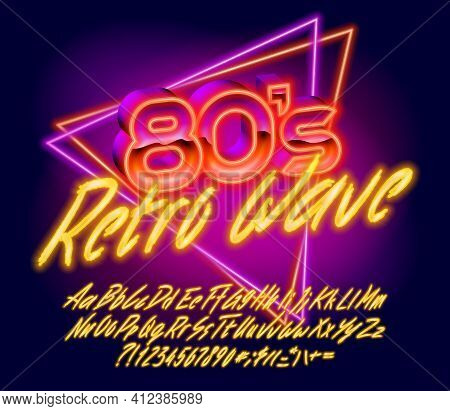 80s Retro Wave Alphabet Font. Hand Drawing Glowing Letters, Numbers And Punctuations. Uppercase And