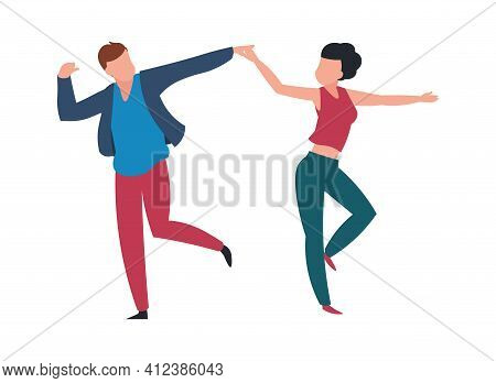 Dancing Couple. Cartoon Pair At Choreography Lesson. Cheerful People Move Holding Hands. Isolated Da