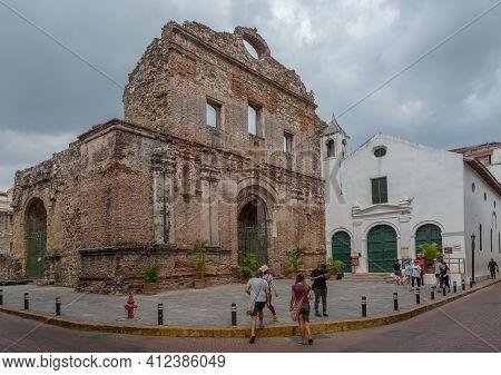 Ruins Of Santo Domingo Church In Casco Viejo, The Historic District Of Panama City, Panama
