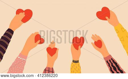 Hands Holding Hearts. Cartoon Red Symbol Of Love In Arms. Charity And Donation Concept. Volunteers G