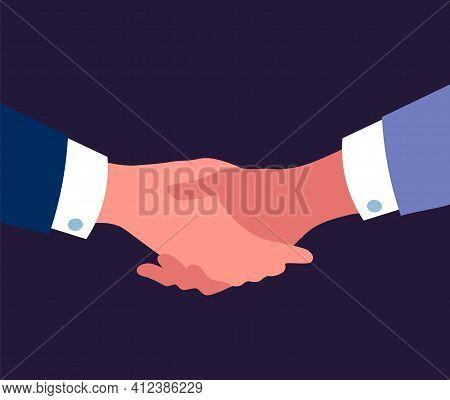 Handshake. Partnership Business Concept. People Shaking Arms. Men Holding Palms. International Gestu