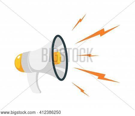 Loudspeaker. Cartoon Megaphone And Noise With Lightning. Device For Public Speaking. Broadcasting Pr