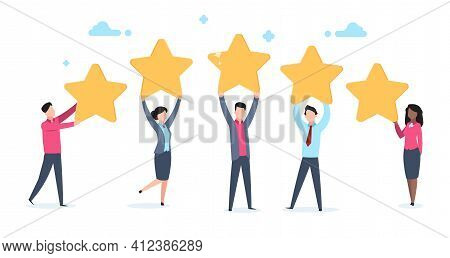 5 Star Rating. Flat People Holding Five Golden Stars. Social Media Product Review, Men And Women Vot