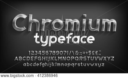 Chromium Alphabet Font. Beveled Metal Letters, Numbers And Punctuation With Shadow. Stock Vector Typ