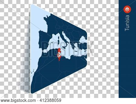 Tunisia Map And Flag On Transparent Background. Highlighted Tunisia On Blue Vector Map.