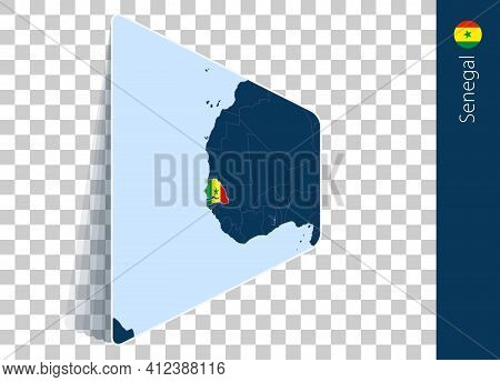 Senegal Map And Flag On Transparent Background. Highlighted Senegal On Blue Vector Map.
