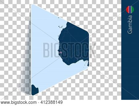 Gambia Map And Flag On Transparent Background. Highlighted Gambia On Blue Vector Map.