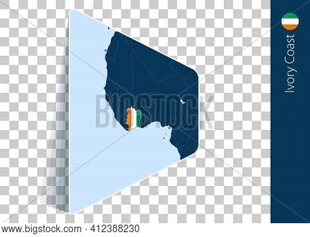 Ivory Coast Map And Flag On Transparent Background. Highlighted Ivory Coast On Blue Vector Map.