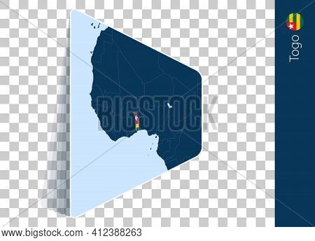 Togo Map And Flag On Transparent Background. Highlighted Togo On Blue Vector Map.