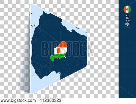 Niger Map And Flag On Transparent Background. Highlighted Niger On Blue Vector Map.