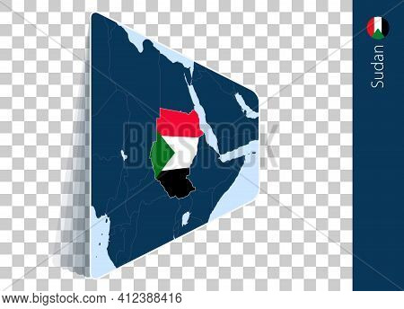 Sudan Map And Flag On Transparent Background. Highlighted Sudan On Blue Vector Map.