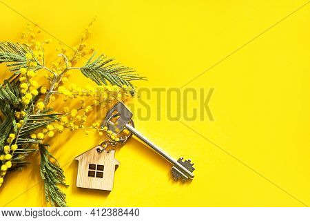 Key Chain In The Shape Of Wooden House With Key On A Yellow Background And Spring Mimosa. Building,