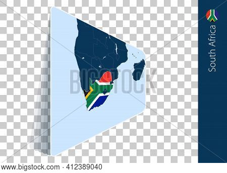 South Africa Map And Flag On Transparent Background. Highlighted South Africa On Blue Vector Map.