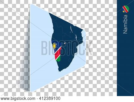 Namibia Map And Flag On Transparent Background. Highlighted Namibia On Blue Vector Map.