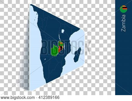 Zambia Map And Flag On Transparent Background. Highlighted Zambia On Blue Vector Map.