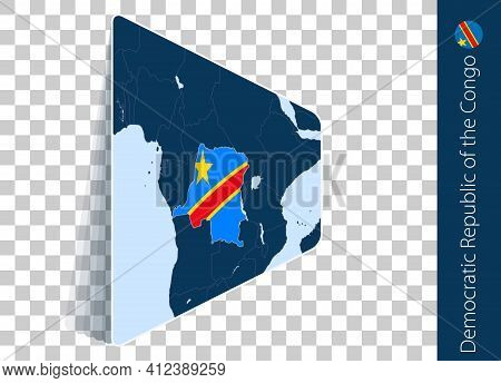 Dr Congo Map And Flag On Transparent Background. Highlighted Dr Congo On Blue Vector Map.