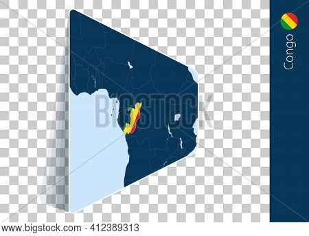 Congo Map And Flag On Transparent Background. Highlighted Congo On Blue Vector Map.