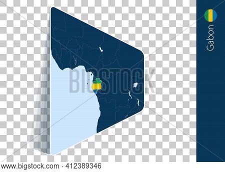 Gabon Map And Flag On Transparent Background. Highlighted Gabon On Blue Vector Map.