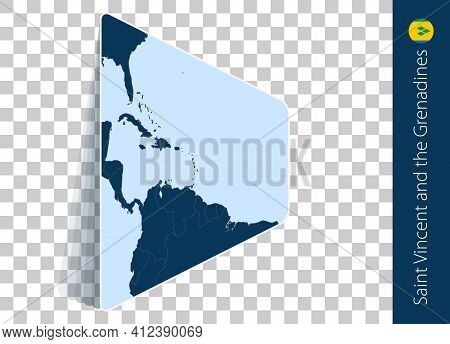 Saint Vincent And The Grenadines Map And Flag On Transparent Background. Highlighted Saint Vincent A