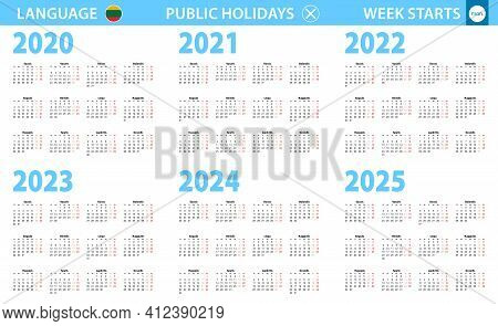 Calendar In Lithuanian Language For Year 2020, 2021, 2022, 2023, 2024, 2025. Week Starts From Monday