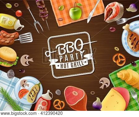 Bbq Party Frame With Emblem Meat Vegetables Fruits Sauces Pastry And Napkins On Wooden Background Ve
