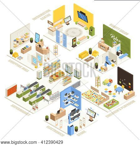 Shopping Mall Electronics Store Children Playroom Information  Center Supermarket And Beauty Salon I