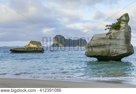 Coastal Area Named Cathedral Cove In The Southern Part Of Mercury Bay On The Coromandel Peninsula At