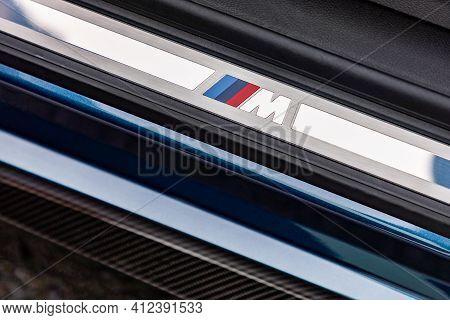 Prague, Czech Republic - January 5, 2021: Logo Of Bmw M Performance On Car Sill In Prague, Czech Rep