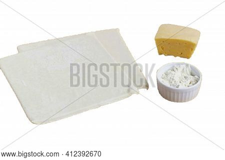 Prepare All The Ingredients. Puff Pastry Yeast-free Flour Hard Cheese. If The Dough Is In The Freeze