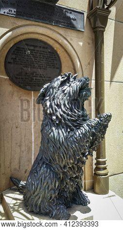 Sydney, Australia - Dec 16, 2018: Bronze Statue Of Islay; Queen Victoria's Favorite Skye Terrier Dog