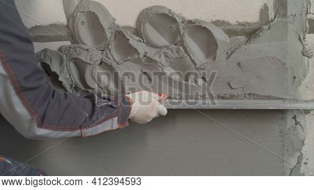 Work With Construction Tools And A Spatula. Repair Concept, Repair Tools, Hand Holds Construction Sp