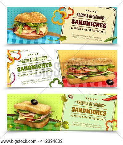 Healthy Whole Grain Sandwiches With Natural Fresh Ingredients 3 Horizontal Advertisement Banners Set