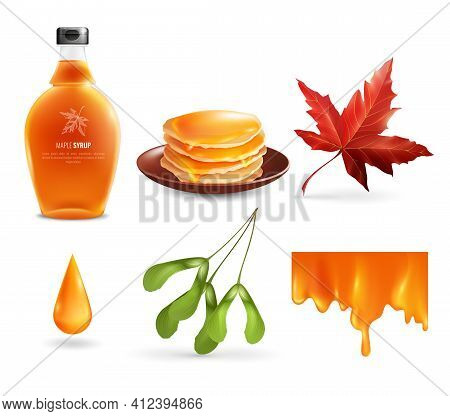 Maple Syrup Set With Product In Bottle, Droplet, Flowing Nectar, Leaf And Seeds, Pancakes Isolated V