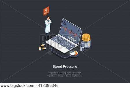 Vector Illustration In Cartoon 3d Style. Isometric Composition On Dark Background With Text. Blood P