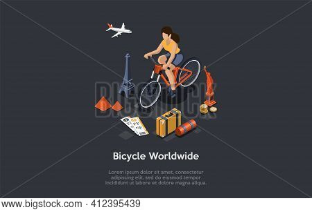 Bicycle Worldwide Travelling Conceptual Composition. Vector Illustration, Cartoon 3d Style. Isometri