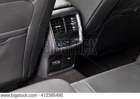 Air-condition Panel In Interior Of A New Car