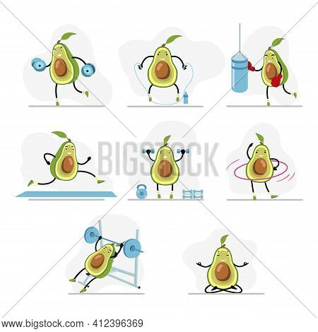 Avocado Do Sport, Yoga And Run, Cute Character Healthy Lifestyle, Boxing And Skipping Rope, Meditati