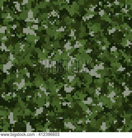 Abstract Seamless Pattern With Green Colored Chaotic Squares On Dark