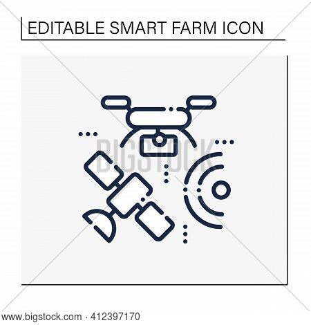 Drones Photography Line Icon. Provide In-depth And Varied Data For Their Clients. Used For Classific
