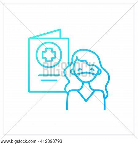 Covid Passport Gradient Icon. Girl In Mask Has Got Necessary Document. Note About Health Status. Vac