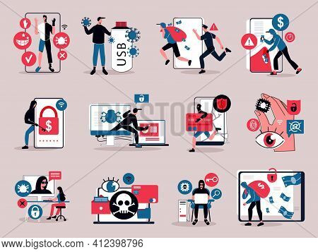 Hacker Activity Computer Viruses And Money Stealing Flat Icons Set Isolated Vector Illustration