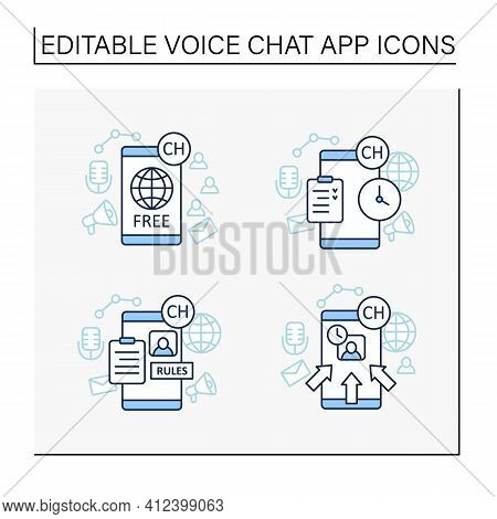 Drop In Audio App Line Icons Set.communication Application With Friends.application Rules, Raped Pop