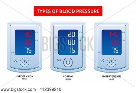 Hypertension Hypotension Measuring Results Management 3 Digital Tonometers With Arterial Blood Press