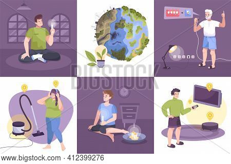 Flat Electricity Icon Set With Saving Electricity Turning Off Lights, Saving The Planet And The Ecol