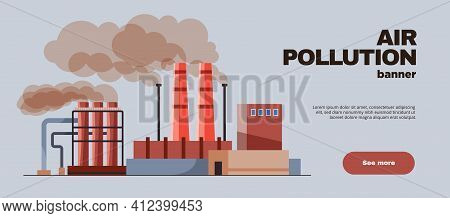 Air Pollution Flat Horizontal Banner With Plant Chimneys Belching Smoke Vector Illustration