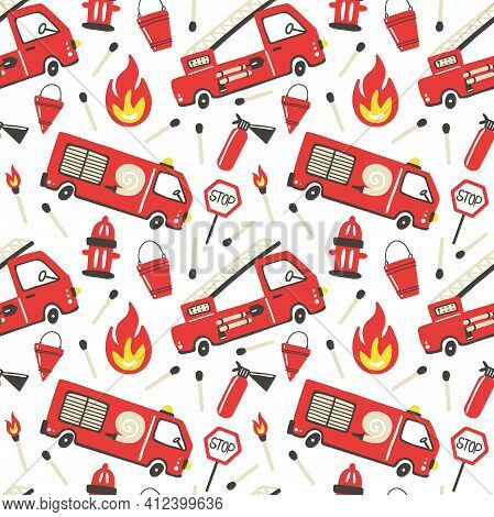 Firefighter Seamless Pattern. Fire Truck With Ladder Extinguisher And Hose. Hand Drawn Cartoon Trend